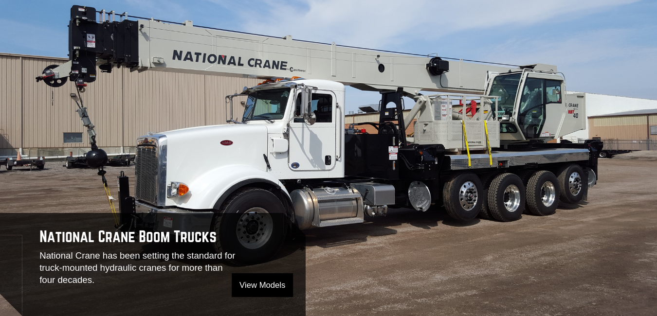 National Crane Swing-Seat and Stand Up boom truck cranes are available at Pat Kelly Equipment Co.
