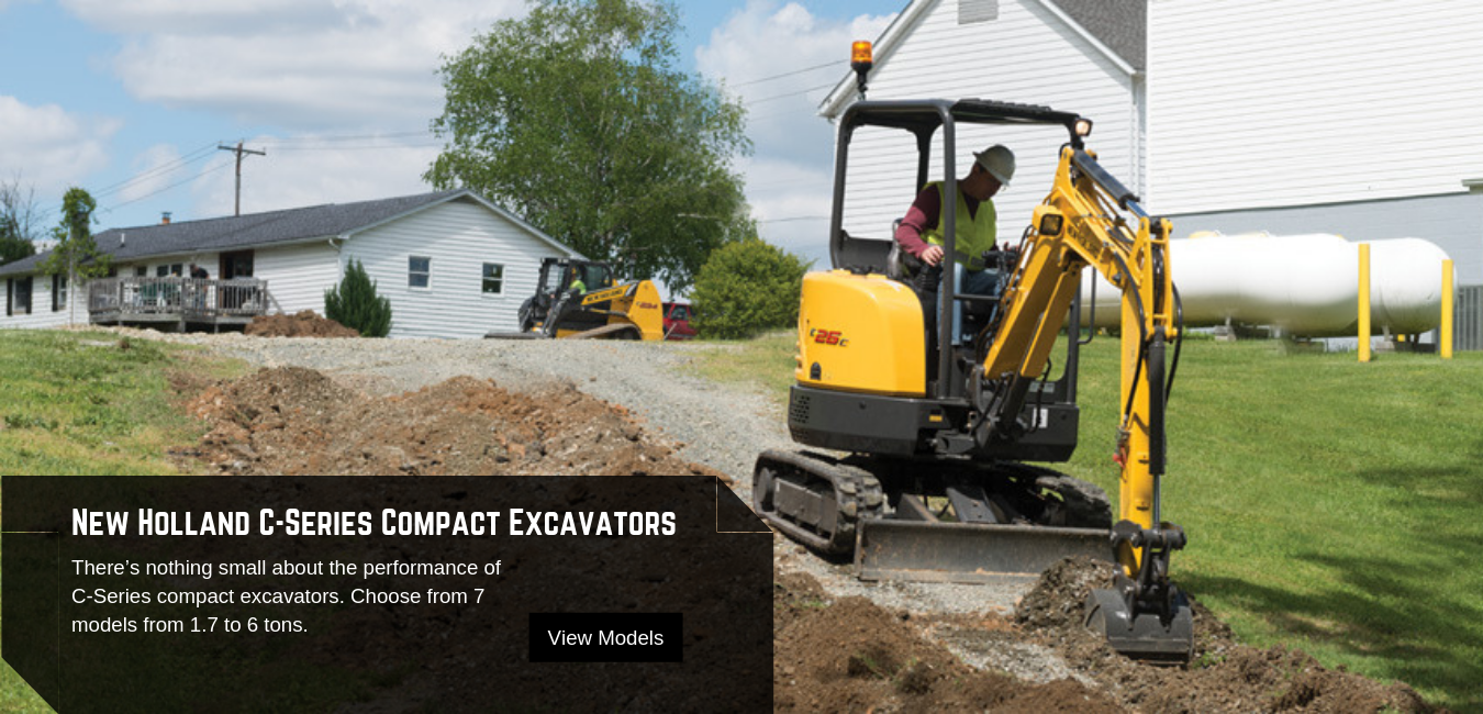 New Holland Construction C-Series Compact Excavators available at Pat Kelly Equipment Co.